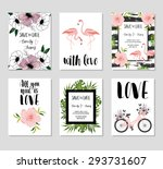 collection of 6 cute card... | Shutterstock .eps vector #293731607