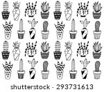 black and white cartoon cactus... | Shutterstock .eps vector #293731613