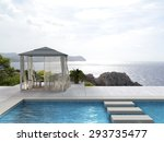 pavilion and swimming pool with ... | Shutterstock . vector #293735477