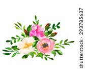 beautiful floral hand drawn... | Shutterstock .eps vector #293785637