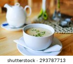garlic soup on a wooden table... | Shutterstock . vector #293787713
