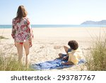 young tourist couple lounging... | Shutterstock . vector #293787767