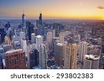 chicago. aerial view of chicago ... | Shutterstock . vector #293802383