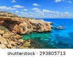 a view of a blue lagoon near... | Shutterstock . vector #293805713