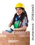 female workman in green... | Shutterstock . vector #293816663