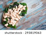 white cannellini beans  spinach ... | Shutterstock . vector #293819063