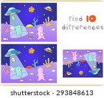 cute friendly aliens land on... | Shutterstock .eps vector #293848613