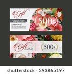 voucher template flowers on...   Shutterstock .eps vector #293865197