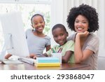 happy family using the computer ... | Shutterstock . vector #293868047