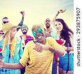 teenagers friends beach party... | Shutterstock . vector #293875907