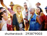 teenagers friends beach party... | Shutterstock . vector #293879003