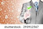 business man touching  pressing ... | Shutterstock . vector #293912567