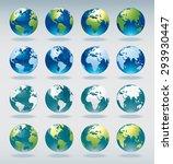 set of vector world globe icons ... | Shutterstock .eps vector #293930447