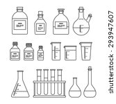 chemical glassware icons set....