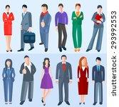 set men and women of business... | Shutterstock . vector #293992553