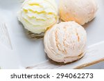 Stock photo mixed flavor ice cream scoops in bowl 294062273