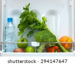 a shot of an open bar fridge | Shutterstock . vector #294147647