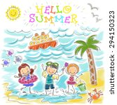 hello summer. vector children... | Shutterstock .eps vector #294150323