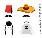 turkish hat fez and mexican hat ... | Shutterstock .eps vector #294185417