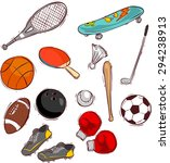 sport balls and equipment | Shutterstock .eps vector #294238913