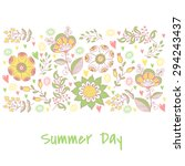 floral banner in vintage style. ... | Shutterstock .eps vector #294243437