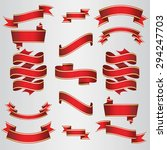 Red Ribbons Set. Vector...