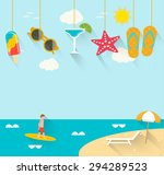 summer background with hanging... | Shutterstock .eps vector #294289523