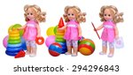 doll in pink dress collection... | Shutterstock . vector #294296843