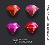 collection icons diamond red...