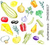 vector set of food drawing by... | Shutterstock .eps vector #294303017