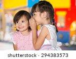 child  advice  whispering. | Shutterstock . vector #294383573