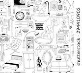 doodles interior seamless... | Shutterstock .eps vector #294410903