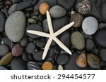 Starfish Pebbles On Wet Beach