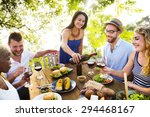 friends outdoors party... | Shutterstock . vector #294468167