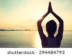 healthy yoga woman meditation... | Shutterstock . vector #294484793
