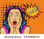 woman with sale sign.... | Shutterstock . vector #294488633