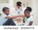 frustrated mother watching... | Shutterstock . vector #294504773