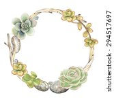 Wreath Of Succulents  Twigs An...