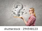 young funny girl with opened... | Shutterstock . vector #294548123