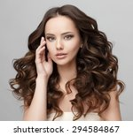 beautiful face of young woman... | Shutterstock . vector #294584867