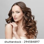 beautiful face of young woman... | Shutterstock . vector #294584897