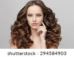 beautiful face of young woman... | Shutterstock . vector #294584903