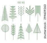 Forest Trees Set. Line...
