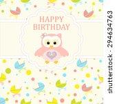 baby girl arrival card. baby... | Shutterstock .eps vector #294634763