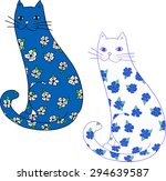 flower cats. colorful hand... | Shutterstock .eps vector #294639587