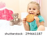 cheerful little girl with... | Shutterstock . vector #294661187