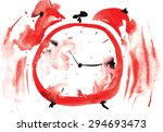 crazy red alarm clock  painted... | Shutterstock .eps vector #294693473