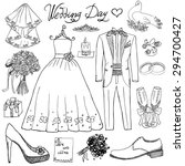wedding day elements. hand...   Shutterstock .eps vector #294700427