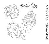 handrawn artichoke in three... | Shutterstock .eps vector #294703577