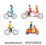 cyclists riding bike set... | Shutterstock . vector #294733403